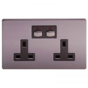 MiHome Double Wall Socket - Brushed Steel