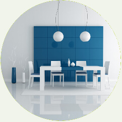 blue dining room table and lights