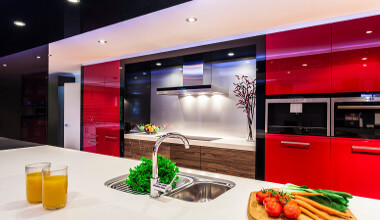 red backdrop led lighted room